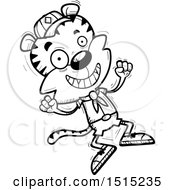 Clipart Of A Black And White Jumping Male Tiger Scout Royalty Free Vector Illustration