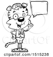 Clipart Of A Black And White Talking Male Tiger Scout Royalty Free Vector Illustration