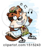Clipart Of A Happy Dancing Female Chipmunk Scout Royalty Free Vector Illustration
