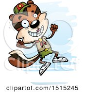Clipart Of A Jumping Female Chipmunk Scout Royalty Free Vector Illustration by Cory Thoman
