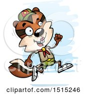 Clipart Of A Running Female Chipmunk Scout Royalty Free Vector Illustration