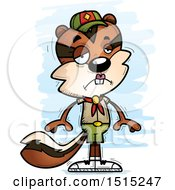 Clipart Of A Sad Female Chipmunk Scout Royalty Free Vector Illustration