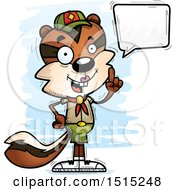 Clipart Of A Talking Female Chipmunk Scout Royalty Free Vector Illustration