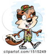 Clipart Of A Walking Female Chipmunk Scout Royalty Free Vector Illustration by Cory Thoman