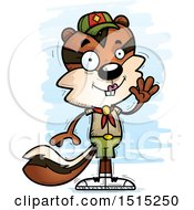 Clipart Of A Waving Female Chipmunk Scout Royalty Free Vector Illustration