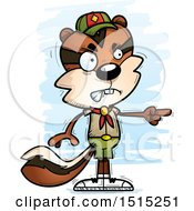 Clipart Of A Mad Pointing Male Chipmunk Scout Royalty Free Vector Illustration by Cory Thoman