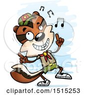 Clipart Of A Happy Dancing Male Chipmunk Scout Royalty Free Vector Illustration