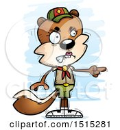 Clipart Of A Mad Pointing Female Squirrel Scout Royalty Free Vector Illustration