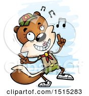 Clipart Of A Happy Dancing Female Squirrel Scout Royalty Free Vector Illustration by Cory Thoman
