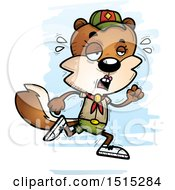 Clipart Of A Tired Running Female Squirrel Scout Royalty Free Vector Illustration by Cory Thoman