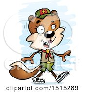 Clipart Of A Walking Female Squirrel Scout Royalty Free Vector Illustration by Cory Thoman