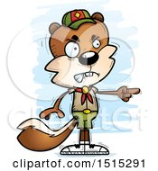 Clipart Of A Mad Pointing Male Squirrel Scout Royalty Free Vector Illustration by Cory Thoman