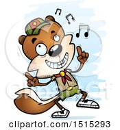 Clipart Of A Happy Dancing Male Squirrel Scout Royalty Free Vector Illustration by Cory Thoman