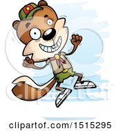 Clipart Of A Jumping Male Squirrel Scout Royalty Free Vector Illustration by Cory Thoman