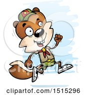 Clipart Of A Running Male Squirrel Scout Royalty Free Vector Illustration