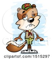 Clipart Of A Sad Male Squirrel Scout Royalty Free Vector Illustration by Cory Thoman