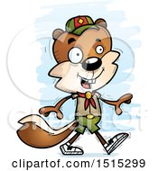 Clipart Of A Walking Male Squirrel Scout Royalty Free Vector Illustration by Cory Thoman