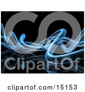 Wavy Blue Transparent Pipes Twisting Over A Black Background And Reflective Surface