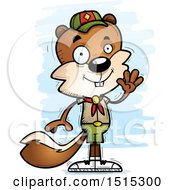 Clipart Of A Waving Male Squirrel Scout Royalty Free Vector Illustration by Cory Thoman