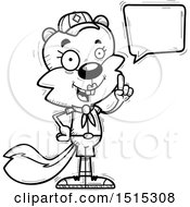 Clipart Of A Black And White Talking Female Squirrel Scout Royalty Free Vector Illustration