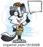 Clipart Of A Talking Female Skunk Scout Royalty Free Vector Illustration