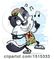 Clipart Of A Happy Dancing Male Skunk Scout Royalty Free Vector Illustration by Cory Thoman