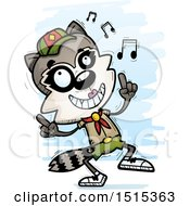 Clipart Of A Happy Dancing Female Raccoon Scout Royalty Free Vector Illustration