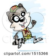 Clipart Of A Running Female Raccoon Scout Royalty Free Vector Illustration by Cory Thoman