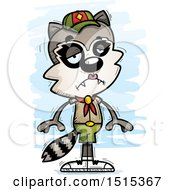 Clipart Of A Sad Female Raccoon Scout Royalty Free Vector Illustration by Cory Thoman