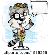 Clipart Of A Talking Female Raccoon Scout Royalty Free Vector Illustration by Cory Thoman