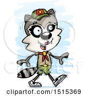 Clipart Of A Walking Female Raccoon Scout Royalty Free Vector Illustration by Cory Thoman