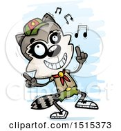 Clipart Of A Happy Dancing Male Raccoon Scout Royalty Free Vector Illustration