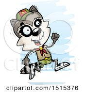 Clipart Of A Running Male Raccoon Scout Royalty Free Vector Illustration
