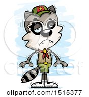 Clipart Of A Sad Male Raccoon Scout Royalty Free Vector Illustration by Cory Thoman
