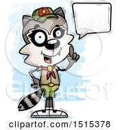 Clipart Of A Talking Male Raccoon Scout Royalty Free Vector Illustration