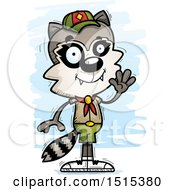 Clipart Of A Waving Male Raccoon Scout Royalty Free Vector Illustration