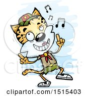 Clipart Of A Happy Dancing Female Bobcat Scout Royalty Free Vector Illustration