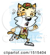 Clipart Of A Tired Running Female Bobcat Scout Royalty Free Vector Illustration