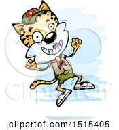 Clipart Of A Jumping Female Bobcat Scout Royalty Free Vector Illustration