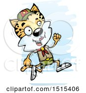 Clipart Of A Running Female Bobcat Scout Royalty Free Vector Illustration
