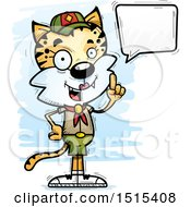 Clipart Of A Talking Female Bobcat Scout Royalty Free Vector Illustration