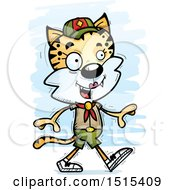 Clipart Of A Walking Female Bobcat Scout Royalty Free Vector Illustration