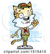 Clipart Of A Waving Female Bobcat Scout Royalty Free Vector Illustration