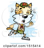 Clipart Of A Tired Running Male Bobcat Scout Royalty Free Vector Illustration