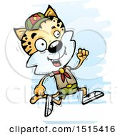 Clipart Of A Running Male Bobcat Scout Royalty Free Vector Illustration