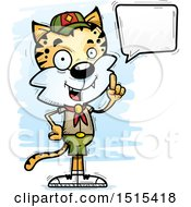 Clipart Of A Talking Male Bobcat Scout Royalty Free Vector Illustration