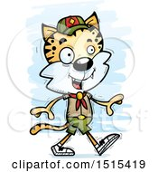 Clipart Of A Walking Male Bobcat Scout Royalty Free Vector Illustration