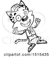 December 14th, 2017: Clipart Of A Black And White Jumping Male Bobcat Scout Royalty Free Vector Illustration by Cory Thoman