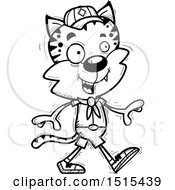 December 13th, 2017: Clipart Of A Black And White Walking Male Bobcat Scout Royalty Free Vector Illustration by Cory Thoman