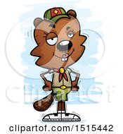 Clipart Of A Confident Female Beaver Scout Royalty Free Vector Illustration
